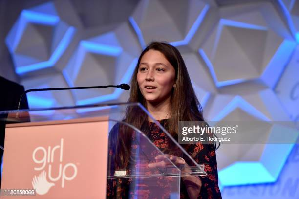 Jasmine Ines Barker speaks osntage at the 2nd Annual Girl Up #GirlHero Awards at the Beverly Wilshire Four Seasons Hotel on October 13 2019 in...