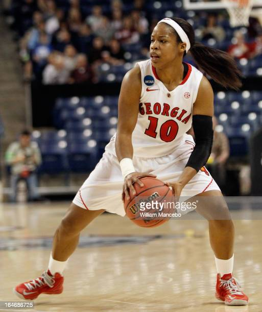 Jasmine James of the Georgia Lady Bulldogs controls the ball during the game against the Montana Grizzlies at McCarthey Athletic Center on March 23...