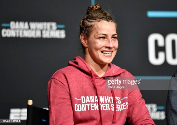 Jasmine Jasudavicius reacts after being awarded a UFC contract during Dana White's Contender Series season five week three at UFC APEX on September...