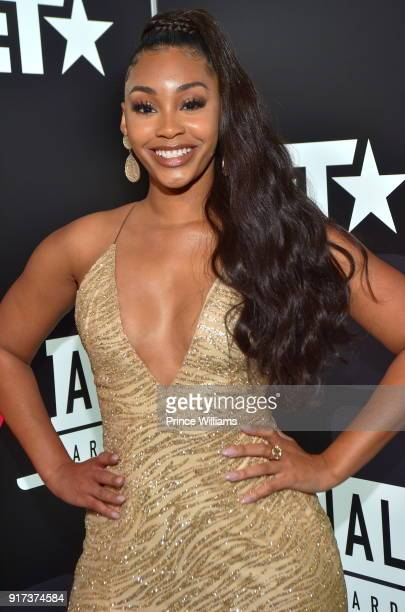 Jasmine Luv attends BET Social Awards Red Carpet at Tyler Perry Studio on February 11 2018 in Atlanta Georgia