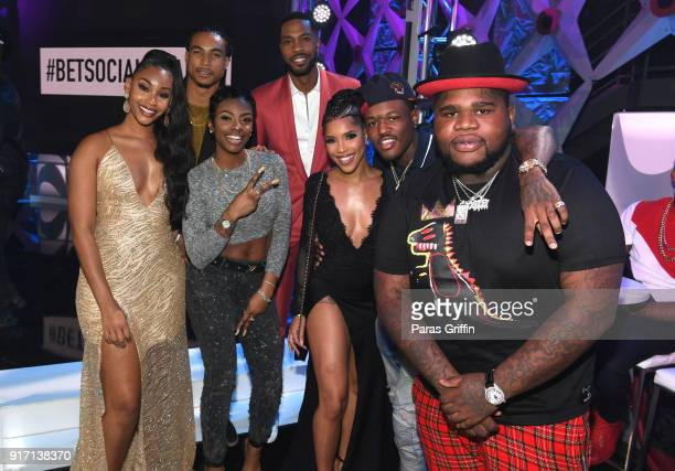 Jasmine Luv Greg Tarzan Davis Jess Hilarious Kendall Kyndall Jasmin Brown DC Young Fly and Yung Fats attend BET's Social Awards 2018 at Tyler Perry...