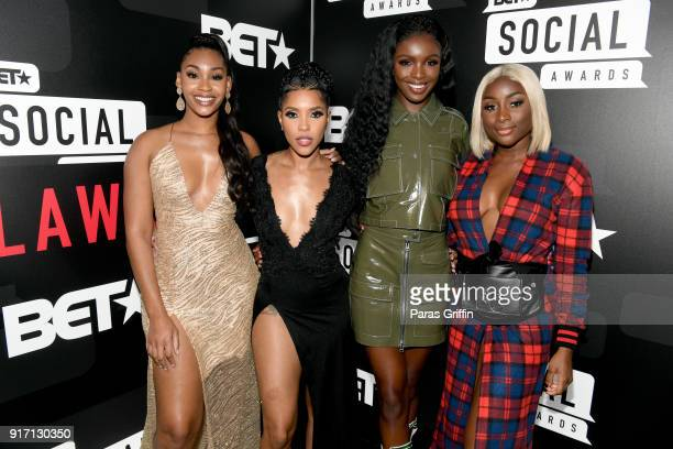 Jasmine Luv Jasmin Brown Leomie Anderson and Sandra Lambeck attend BET's Social Awards 2018 at Tyler Perry Studio on February 11 2018 in Atlanta...