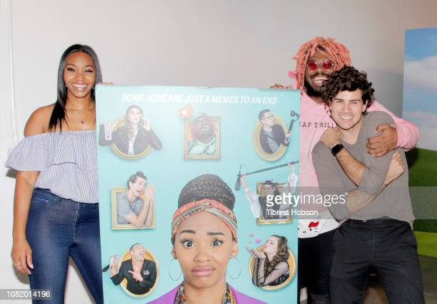 Jasmine Luv Kash Jordan and Anthony Padilla attend ATT Hello Lab's 'STARTER PACK' LOG ON The Internet Experience PopUp on October 12 2018 in Los...