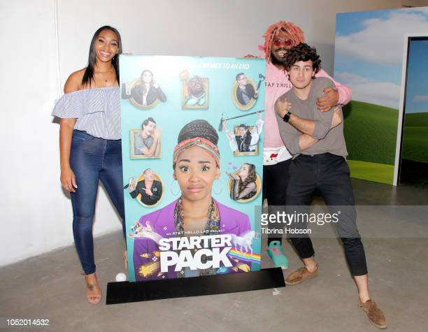 Jasmine Luvattend Kash Jordan and Anthony Padilla ATT Hello Lab's 'STARTER PACK' LOG ON The Internet Experience PopUp on October 12 2018 in Los...