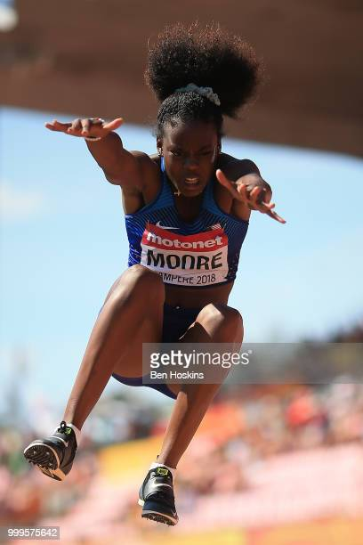 Jasmine Moore of The USA during the final of the women's triple jump on day six of The IAAF World U20 Championships on July 15 2018 in Tampere Finland
