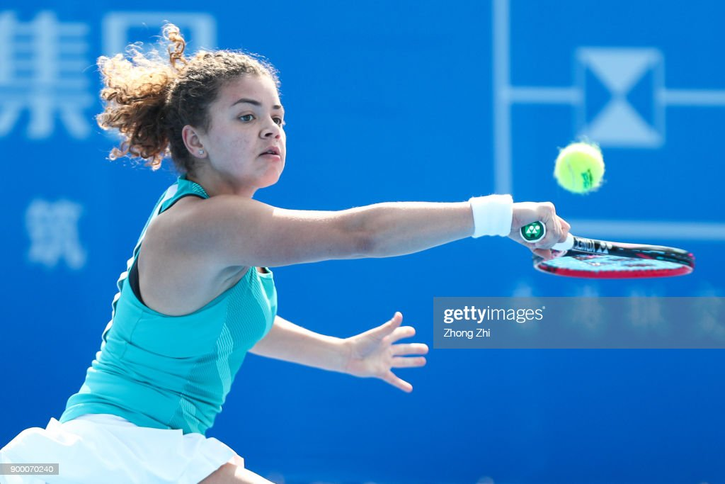 Jasmine Paolini of Italy returns a shot during the qualification match against Anna Karolina Schmiedlova of Slovakia during 2018 WTA Shenzhen Open at Longgang International Tennis Center on December 30, 2017 in Shenzhen, China.