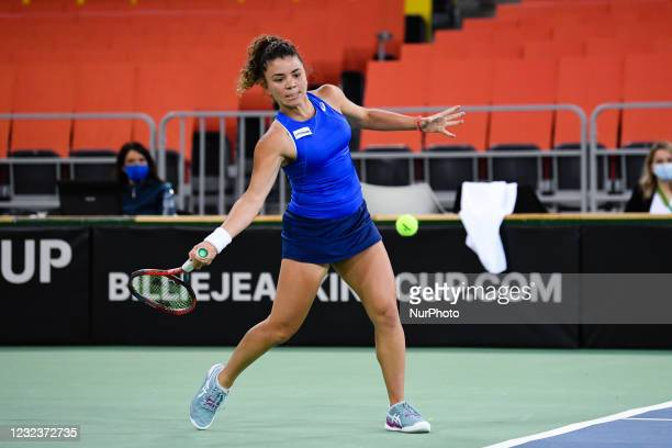 Jasmine Paolini player of team Italy during the match against Elena Gabriela Ruse, romanian player during the Billie Jean King cup in Cluj-Napoca, 17...