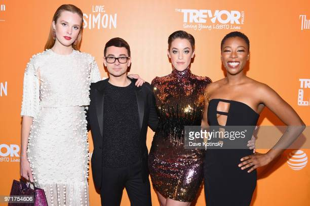 Jasmine Poulton Christian Siriano Lauren Morelli and Samira Wiley attend The Trevor Project TrevorLIVE NYC at Cipriani Wall Street on June 11 2018 in...