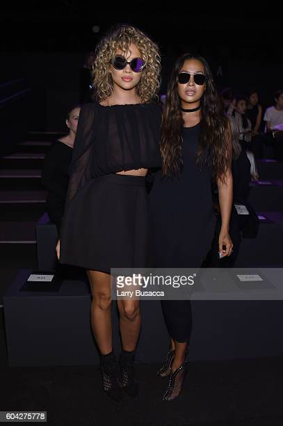 Jasmine Sanders and La La Anthony attend the Vera Wang Collection fashion show during New York Fashion Week The Shows at The Arc Skylight at Moynihan...