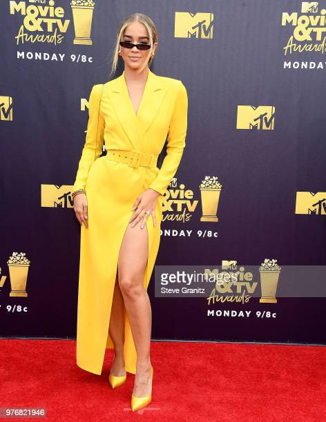 Jasmine Sanders arrives at the 2018 MTV Movie And TV Awards at Barker Hangar on June 16 2018 in Santa Monica California