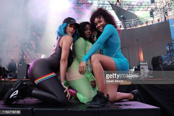 Jasmine Sanders, Asiahn and Brittany Hampton pose after Asiahn's performance at LA Pride 2019 on June 8, 2019 in West Hollywood, California.