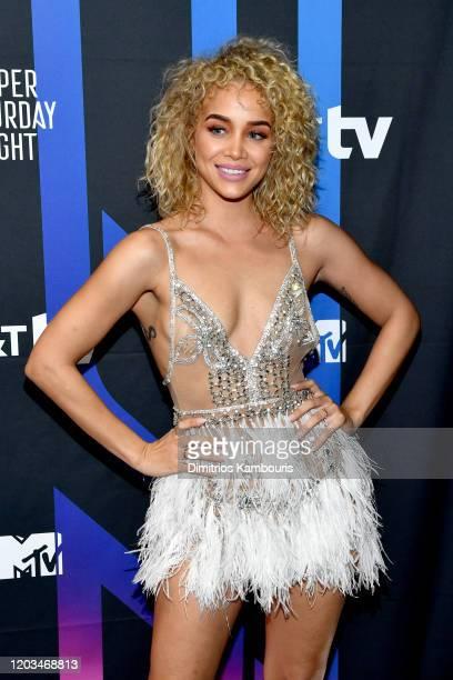 Jasmine Sanders attends ATT TV Super Saturday Night at Meridian at Island Gardens on February 01 2020 in Miami Florida