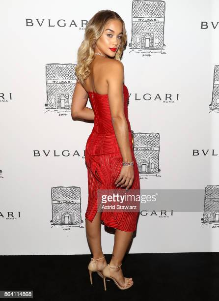 Jasmine Sanders attends Bulgari 5th Avenue flagship store opening on October 20 2017 in New York City