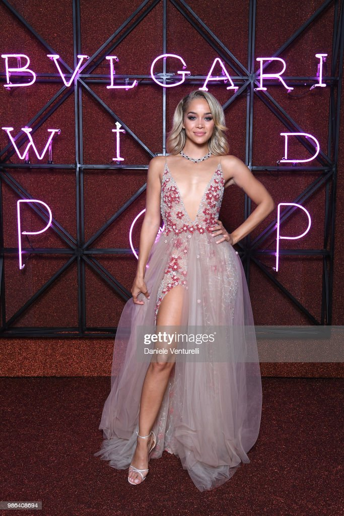 Jasmine Sanders attends BVLGARI Dinner & Party at Stadio dei Marmi on June 28, 2018 in Rome, Italy.