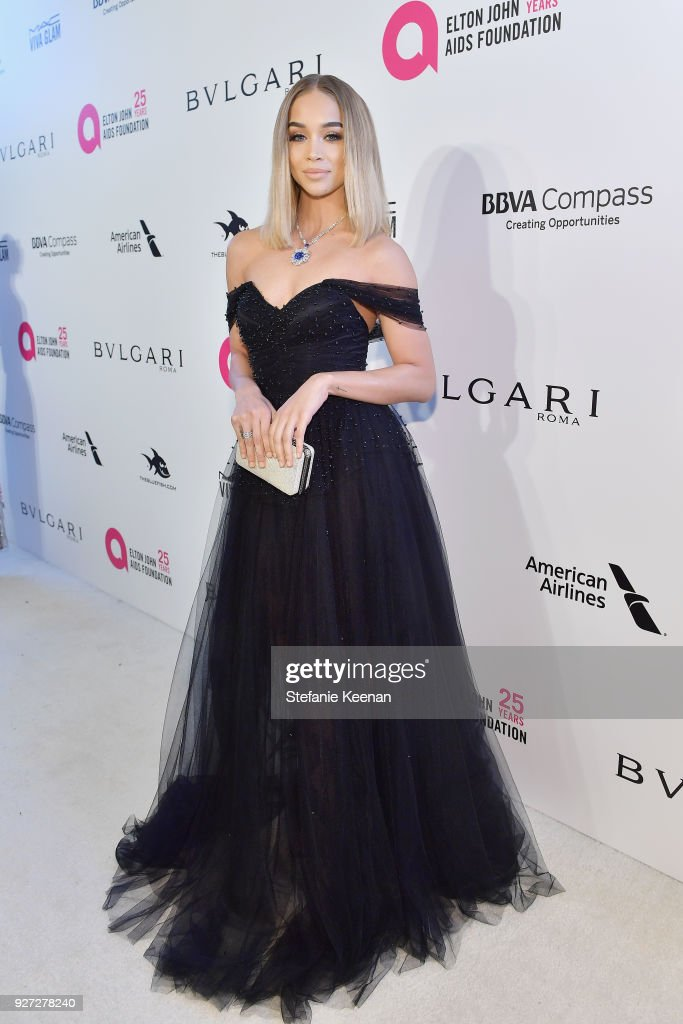Jasmine Sanders attends the 26th annual Elton John AIDS Foundation Academy Awards Viewing Party sponsored by Bulgari, celebrating EJAF and the 90th Academy Awards at The City of West Hollywood Park on March 4, 2018 in West Hollywood, California.