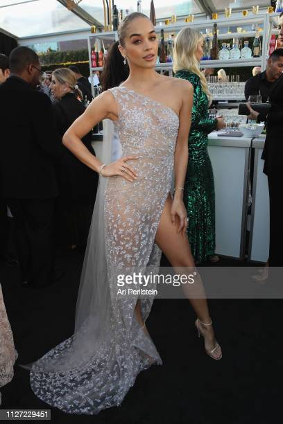 Jasmine Sanders attends the 27th annual Elton John AIDS Foundation Academy Awards Viewing Party celebrating EJAF and the 91st Academy Awards with...