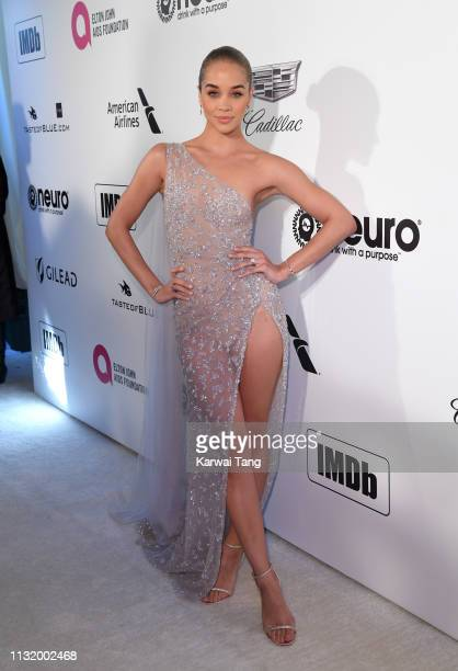 Jasmine Sanders attends the 27th annual Elton John AIDS Foundation Academy Awards Viewing Party Celebrating EJAF And The 91st Academy Awards on...