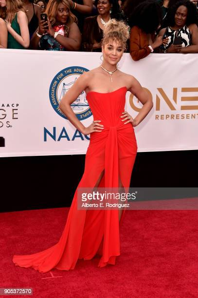 Jasmine Sanders attends the 49th NAACP Image Awards at Pasadena Civic Auditorium on January 15 2018 in Pasadena California