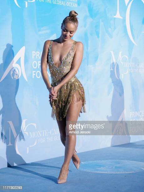 Jasmine Sanders attends the Gala for the Global Ocean hosted by HSH Prince Albert II of Monaco at Opera of MonteCarlo on September 26 2019 in...
