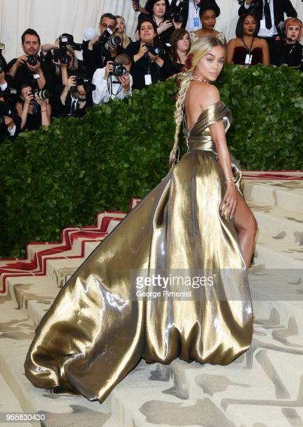Jasmine Sanders attends the Heavenly Bodies Fashion The Catholic Imagination Costume Institute Gala at the Metropolitan Museum of Art on May 7 2018...