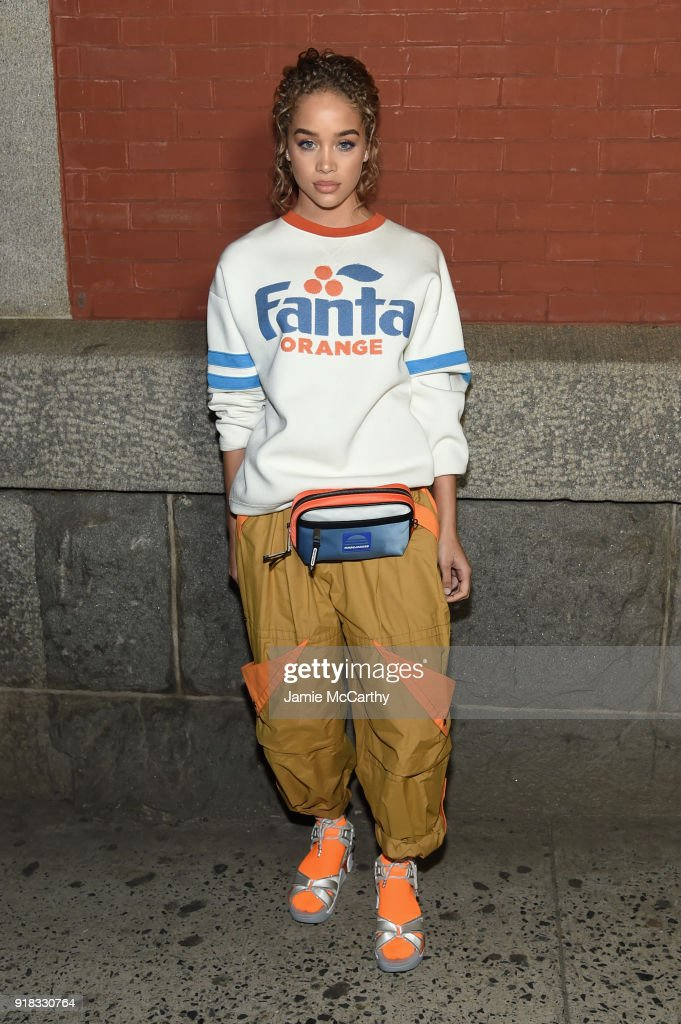 Jasmine Sanders attends the Marc Jacobs Fall 2018 Show at Park Avenue Armory on February 14, 2018 in New York City.