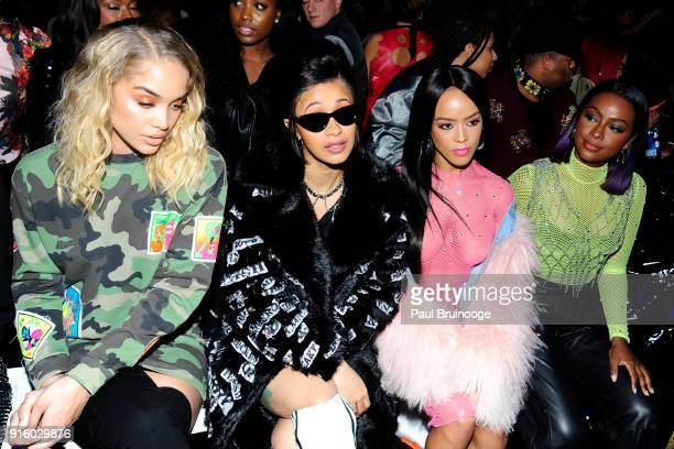 Jasmine Sanders Cardi B Serayah McNeill and Justine Skye attend Jeremy Scott Front Row during New York Fashion Week The Shows at Spring Studios on...