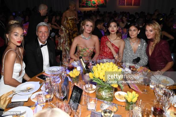 Jasmine Sanders guest Kitty Spencer Hikari Mori and guest attend amfAR Gala dinner at La Permanente on September 22 2018 in Milan Italy