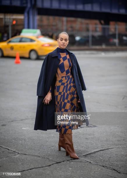 Jasmine Sanders is seen outside Boss during New York Fashion Week Autumn Winter 2019 on February 13 2019 in New York City