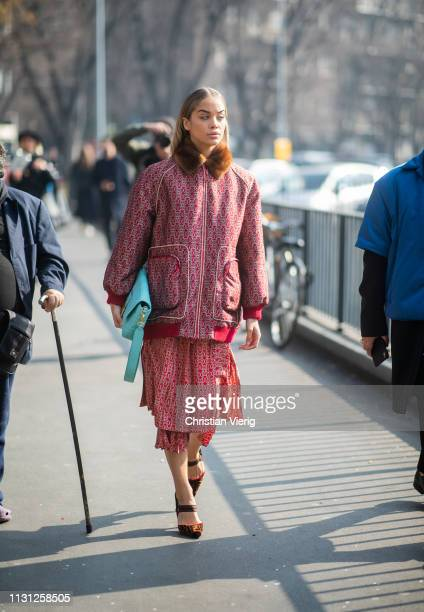 Jasmine Sanders is seen wearing red jacket and skirt bag outside Fendi on Day 2 Milan Fashion Week Autumn/Winter 2019/20 on February 21 2019 in Milan...