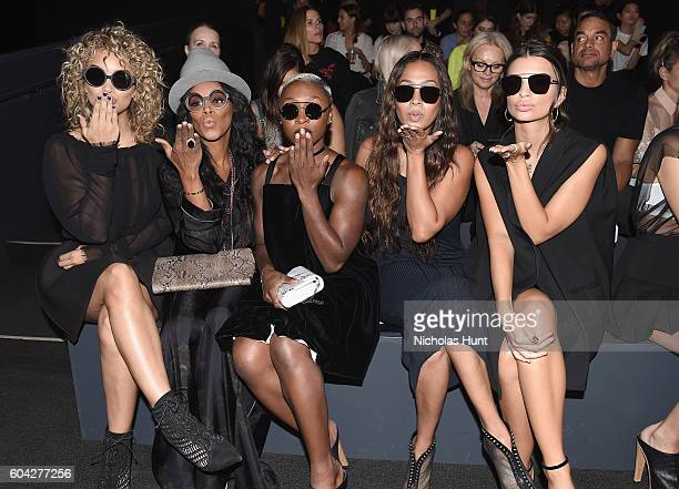 Jasmine Sanders, June Ambrose, Cynthia Erivo, La La Anthony and Emily Ratajkowski attend the Vera Wang Collection fashion show during New York...