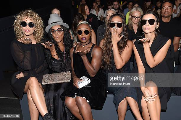 Jasmine Sanders, June Ambrose, Cynthia Ervino, La La Anthony and Emily Ratajkowski attends the Vera Wang Collection fashion show during New York...