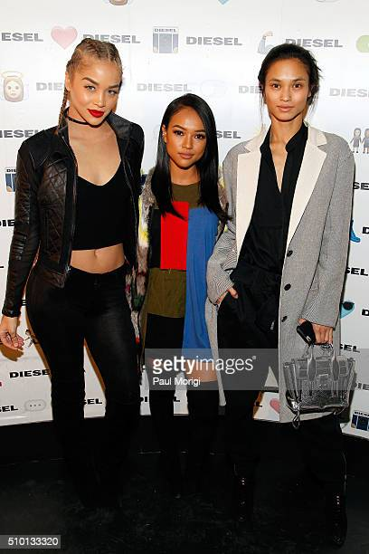 Jasmine Sanders Karrueche Tran and Sharina Gutierrez attend the after party celebrating DIESEL's Madison Avenue flagship on February 13 2016 in New...