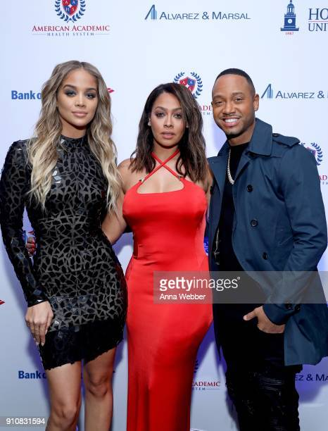 Jasmine Sanders La La Anthony and Terrence J attend La La Anthony's PreGrammy Party Presented by Howard University on January 26 2018 in New York City