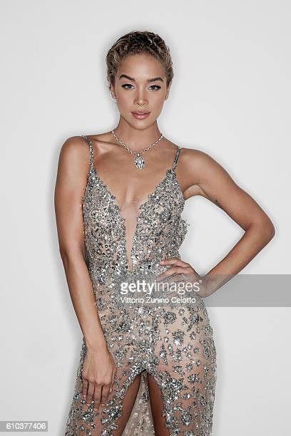 Jasmine Sanders poses for a portrait during amfAR Milano 2016 at La Permanente on September 24 2016 in Milan Italy