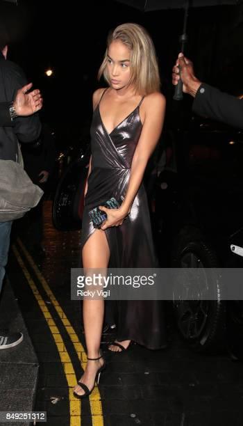 Jasmine Sanders seen at Miu Miu X LOVE Magazine party at No 5 Hertford Street during London Fashion Week September 2017 on September 18 2017 in...