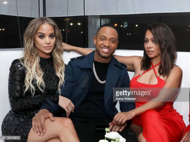 Jasmine Sanders Terrence J and La La Anthony attend La La Anthony's PreGrammy Party Presented by Howard University on January 26 2018 in New York City