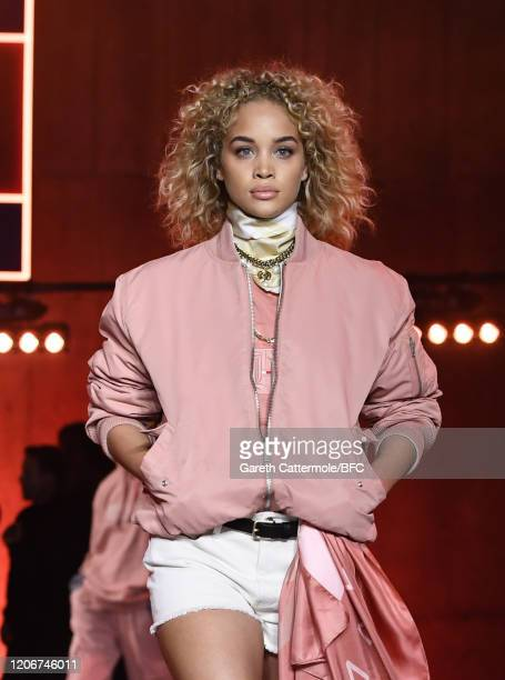 Jasmine Sanders walks the runway at the TommyNow show during London Fashion Week February 2020 at the Tate Modern on February 16 2020 in London...