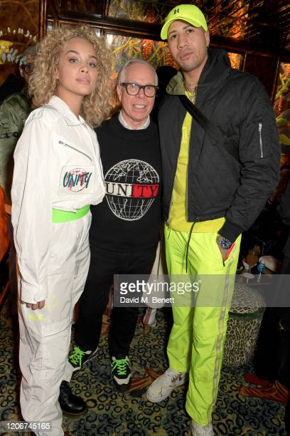 Jasmine Saunders Tommy Hilfiger and Miles ChamleyWatson attend the TOMMYNOW after party at Annabels on February 16 2020 in London England