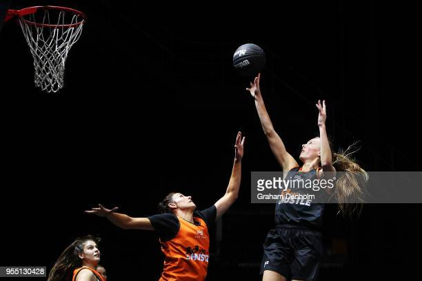 Jasmine Simmons of the Melbourne Boomers shoots during the match against the Bears during the NBL 3x3 Pro Hustle 2 event held at Docklands Studios on...