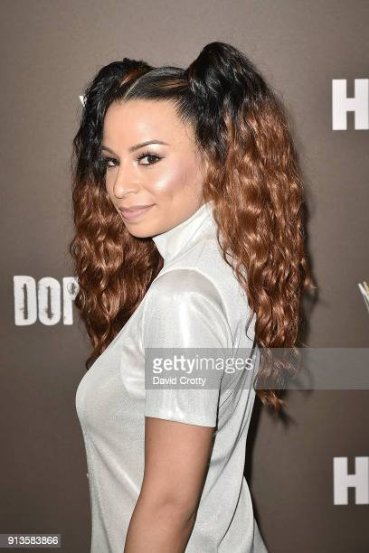 Jasmine Solano attends HBO's '2 Dope Queens' Los Angeles Slumber Party Premiere at NeueHouse Hollywood on February 2 2018 in Los Angeles California