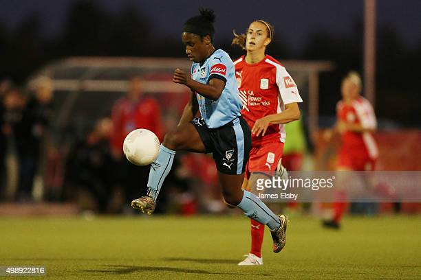 Jasmine Spencer of Sydney on her way to scoring during the round seven WLeague match between Adelaide United and Sydney FC at Adelaide Shores...