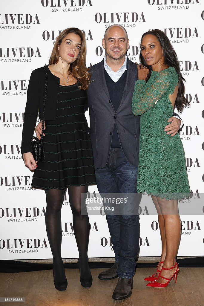 Jasmine Spezie, Thomas Lommel and Barbara Becker attend the OLIVEDA - Launch Party at Bayerischer Hof on October 15, 2013 in Munich, Germany.