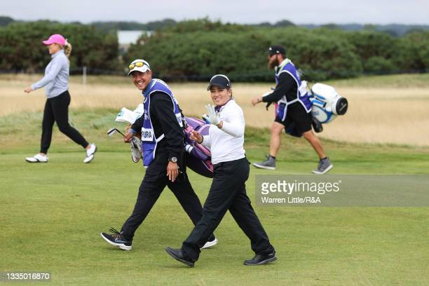 Jasmine Suwannapura of Thailand celebrates an eagle on the fourth hole during Day One of the AIG Women's Open at Carnoustie Golf Links on August 19,...