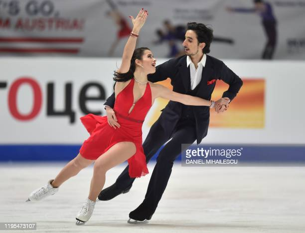 Jasmine Tessari and Francesco Fioretti of Italy perform in the pairs Ice Dance Rhythm Dance event of the ISU European Figure Skating Championships at...