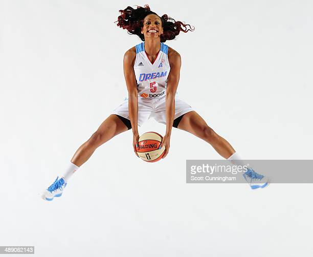 Jasmine Thomas of the Atlanta Dream poses for a photograph during WNBA Media Day at Philips Arena on May 9 2014 in Atlanta Georgia NOTE TO USER User...