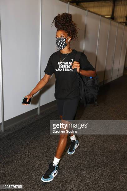 Jasmine Thomas of the Connecticut Sun arrives to the arena for the game on August 30, 2020 at Feld Entertainment Center in Palmetto, Florida. NOTE TO...