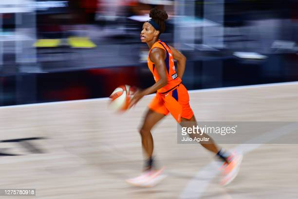Jasmine Thomas of the Connecticut Sun dribbles during the first half of Game 2 of their Third Round playoffs against the Las Vegas Aces at Feld...