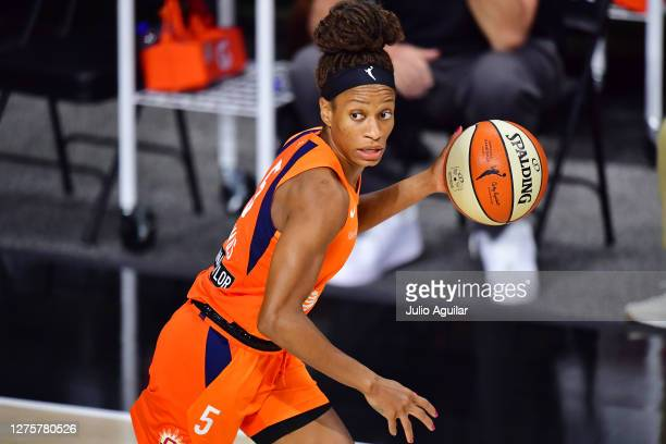 Jasmine Thomas of the Connecticut Sun dribbles during the second half against the Las Vegas Aces in Game 2 of their Third Round playoffs at Feld...