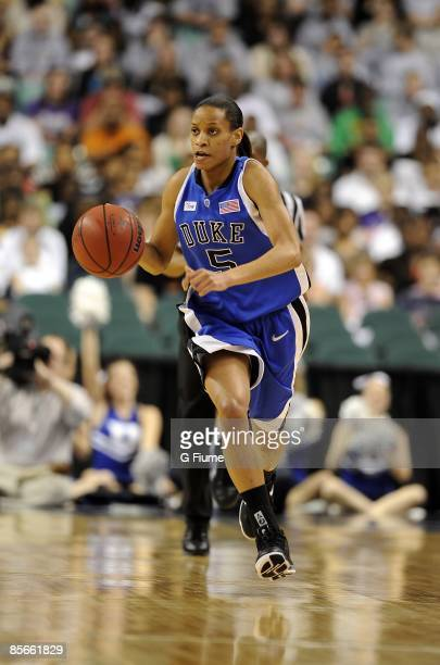 Jasmine Thomas of the Duke Blue Devils handles the ball against the Maryland Terrapins on March 8 2009 in the ACC Championship game at the Greensboro...