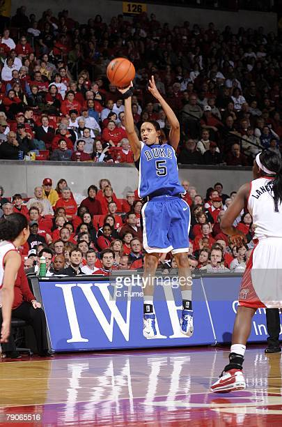 Jasmine Thomas of the Duke Blue Devils takes a jump shot against the Maryland Terrapins at the Comcast Center on January 14 2008 in College Park...